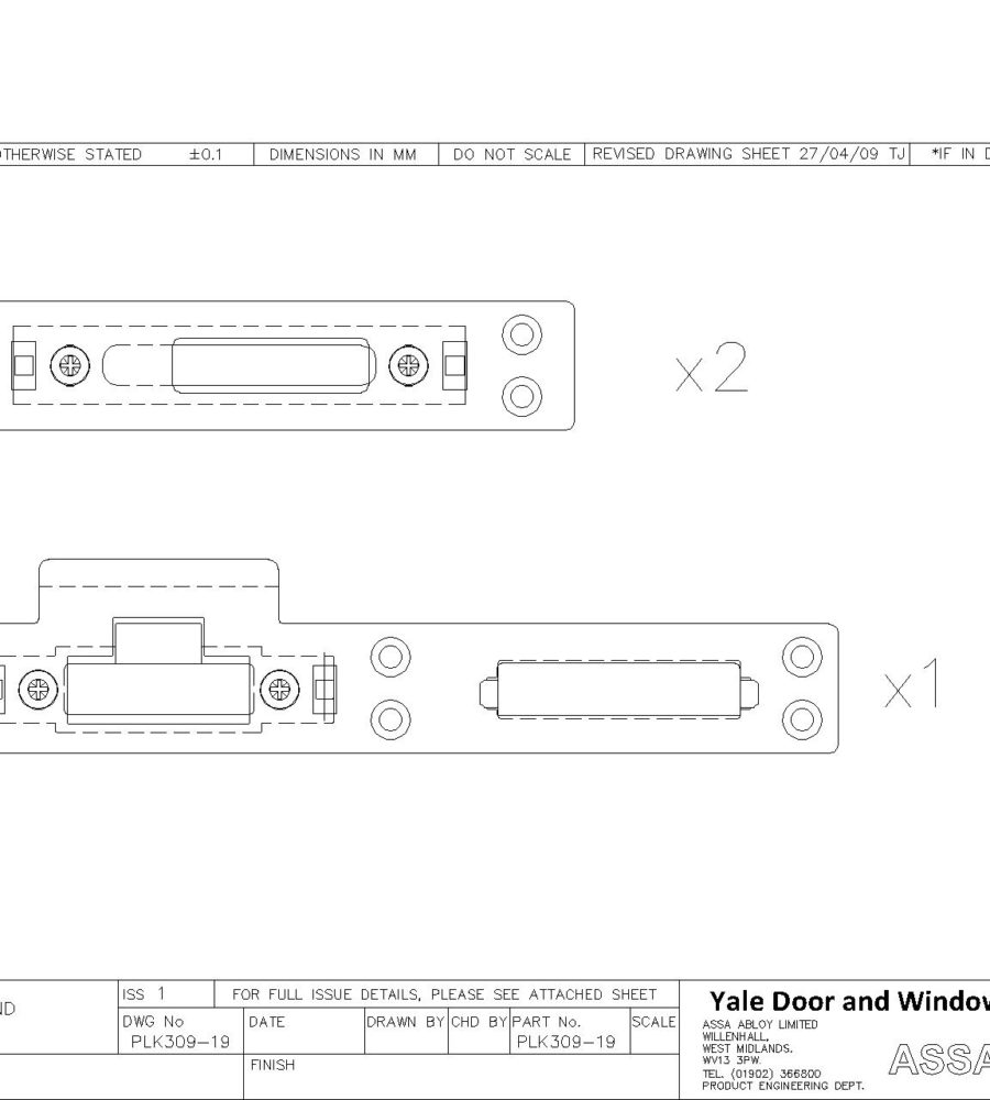 Lockmaster Composite Door Adjustable Keepset PLK309-19 left hand-0