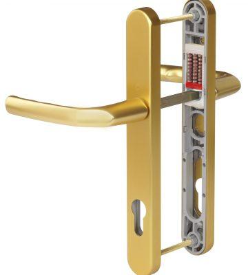 Hoppe Birmingham Long Backplate 3810N F3 Matt Gold 92mm Centre Door Handle
