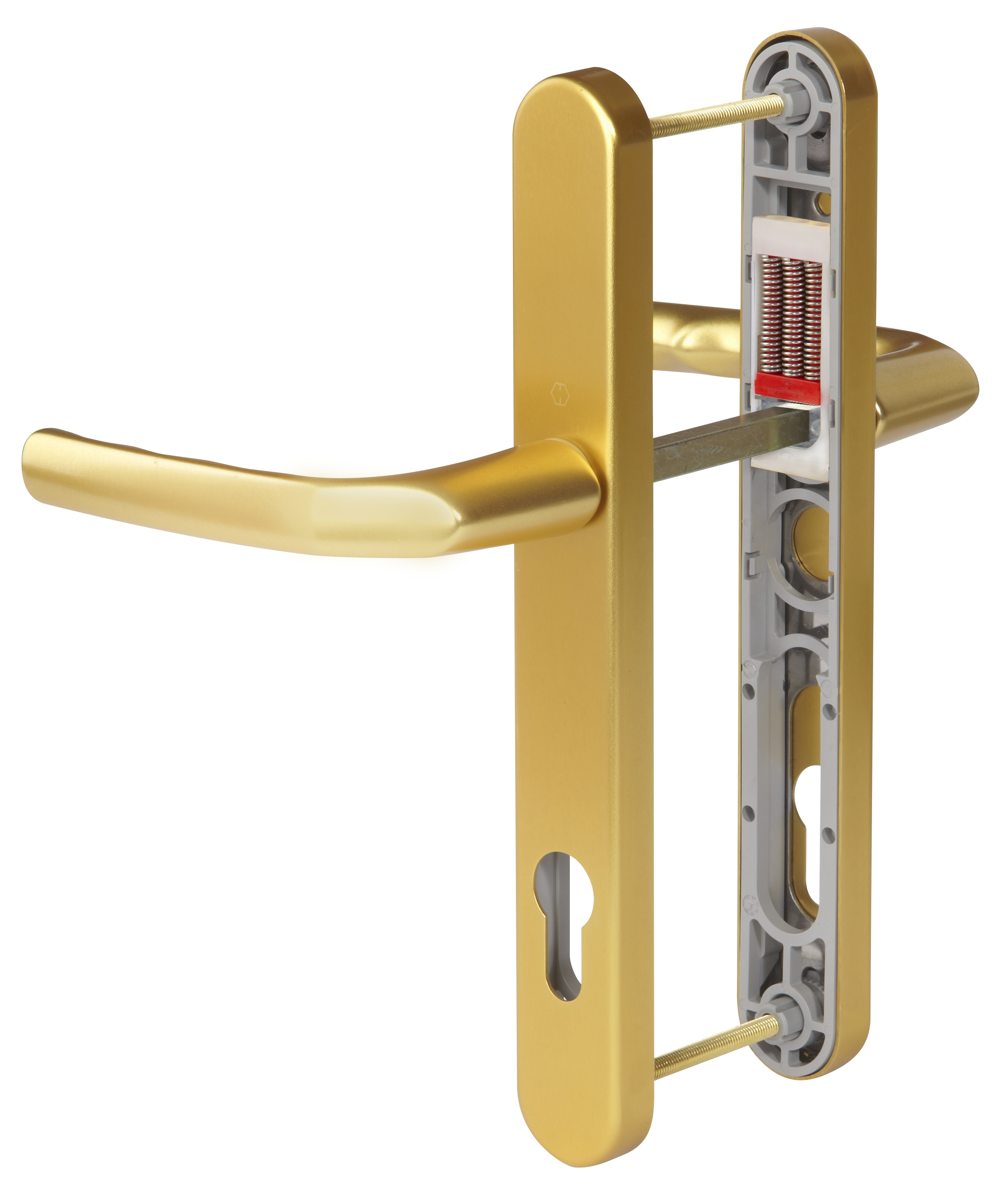Hoppe Birmingham Long Backplate 3810N F3 Matt Gold 92mm Centre Door Handle