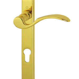 Hoppe M112PL/200LM Brass RH 92mm Centre Scroll Lever Door Handle