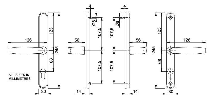 Hoppe Brugge F1 Matt Silver 68mm centre Euro Door Handle to suit Fullex Locks-576