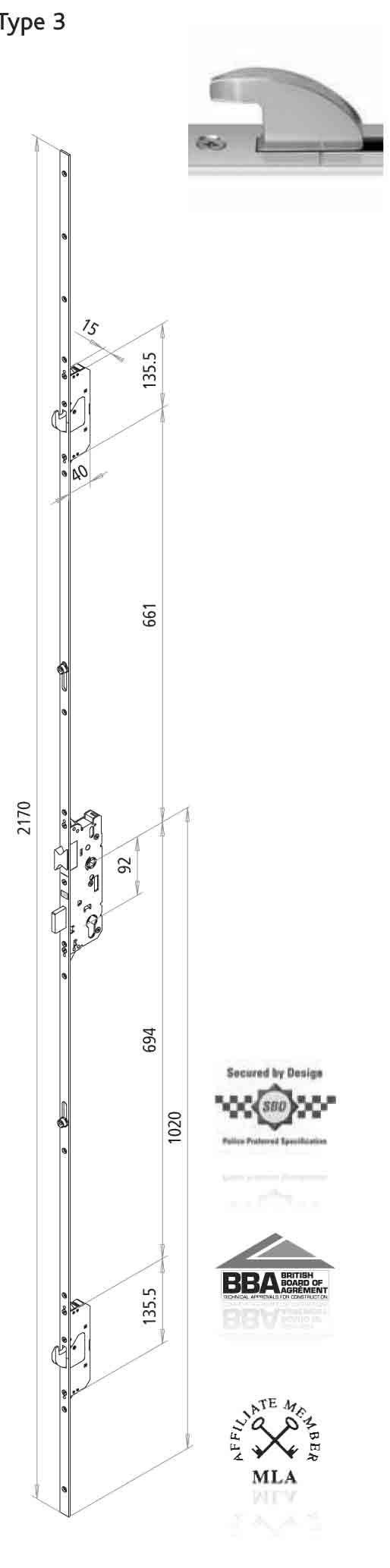 Fuhr 2 Hook 2 Roller 35mm Backset 92mm Centre Door Lock