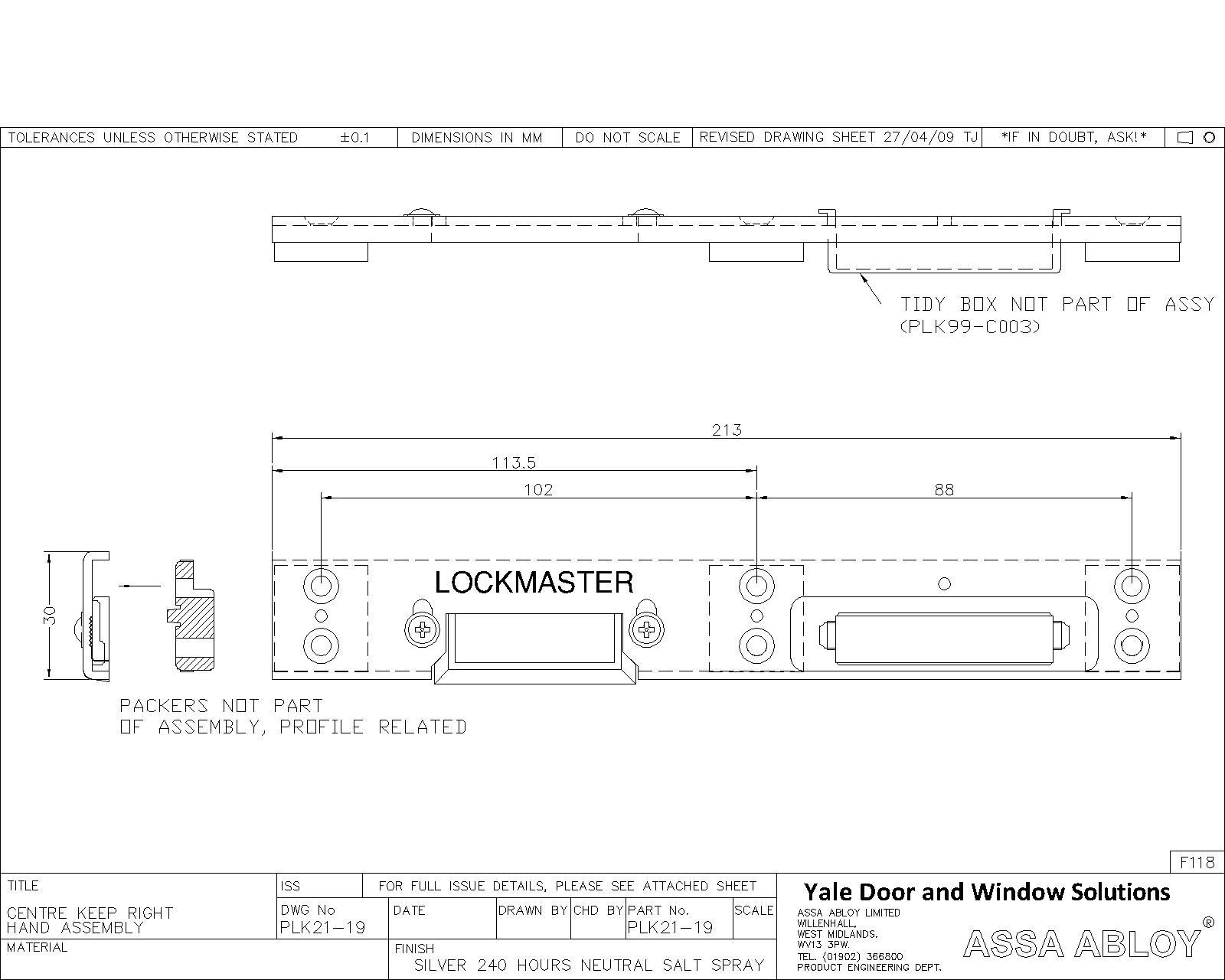 Lockmaster Upvc Centre Keep Right Hand PLK21-19