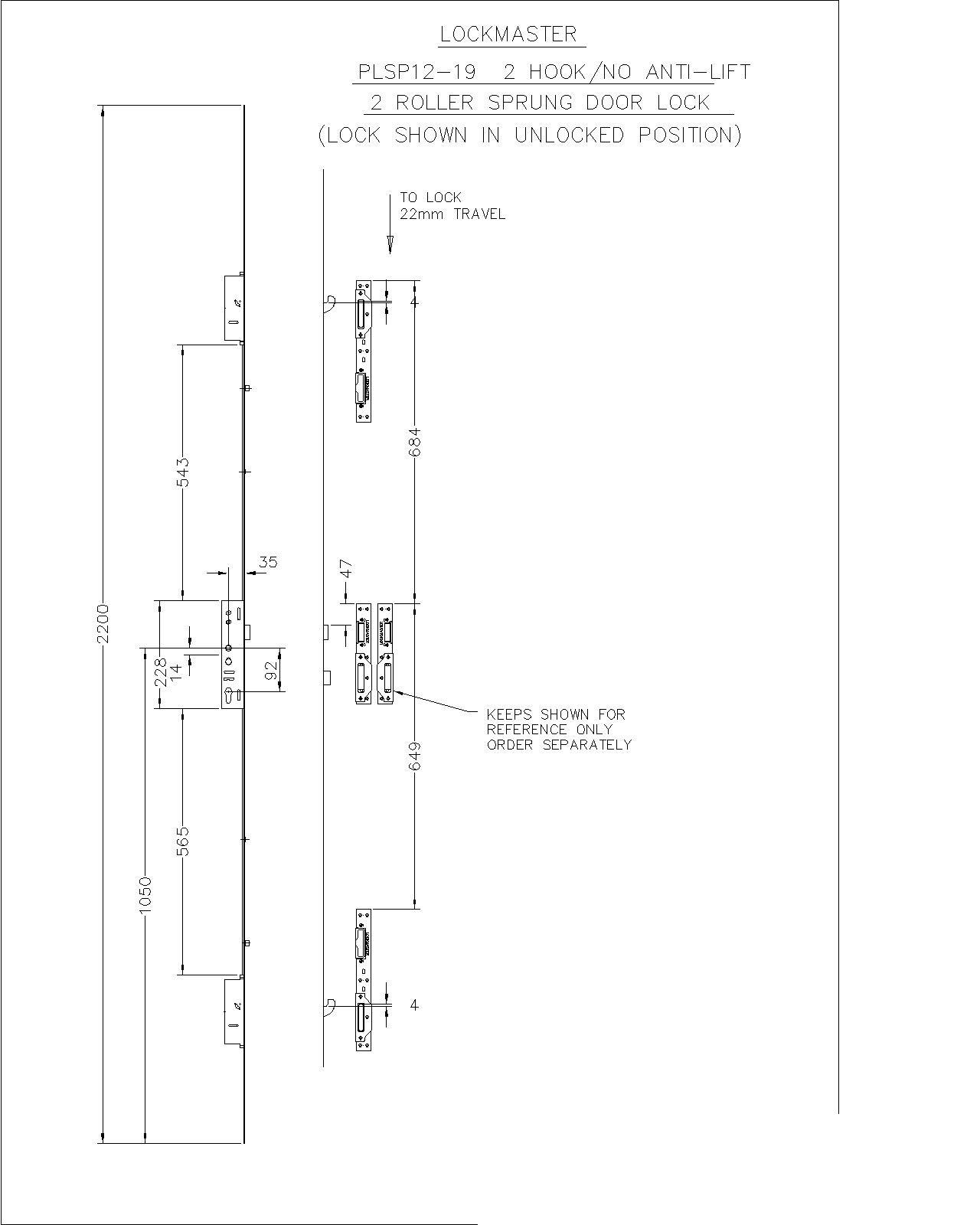 Lockmaster 2Hook 2Roller 35mm Backset 92mm Centre Door Lock PLSP12-19