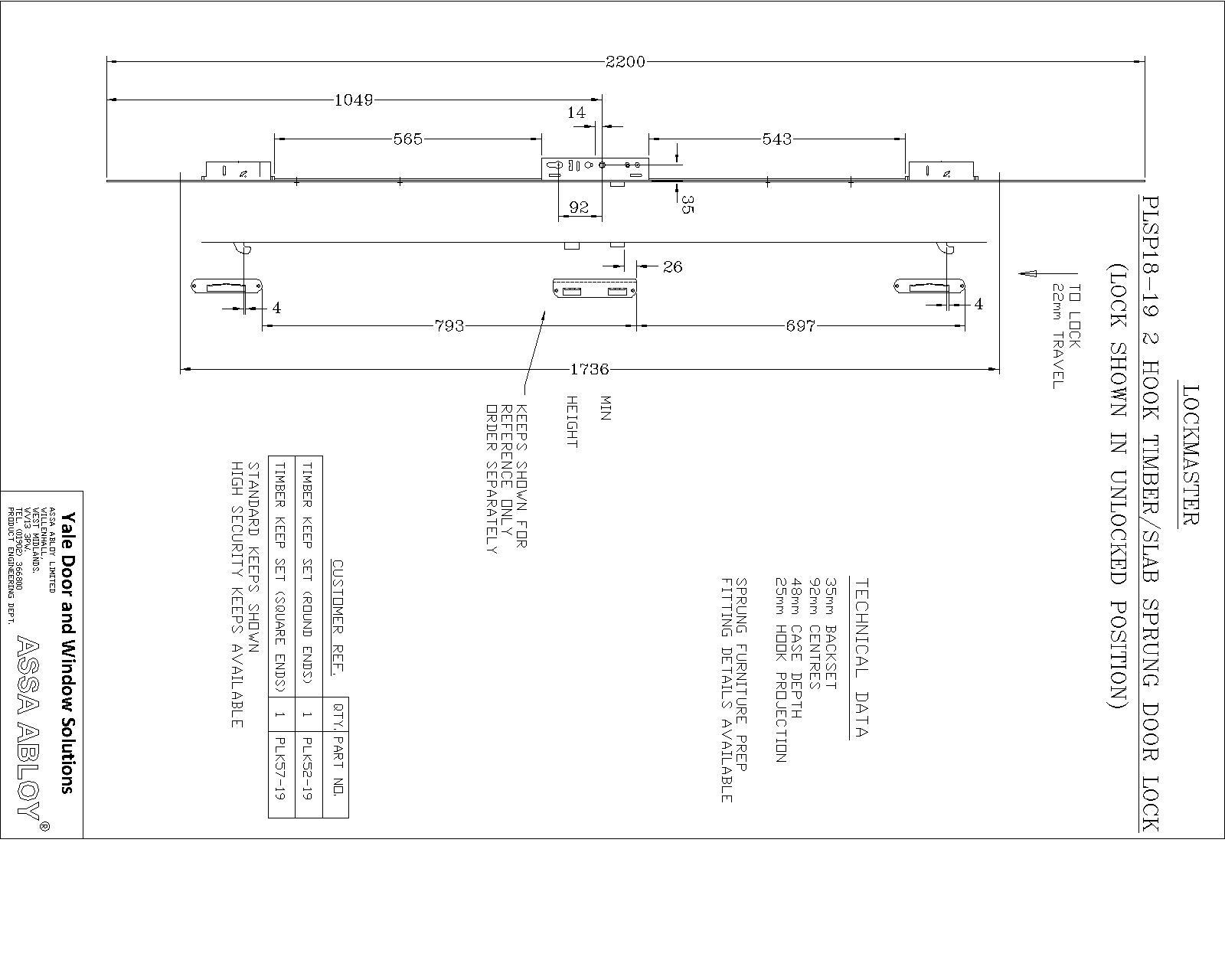 Lockmaster 2 Hook Lock 35mm Backset 92mm Centre PLSP18-19