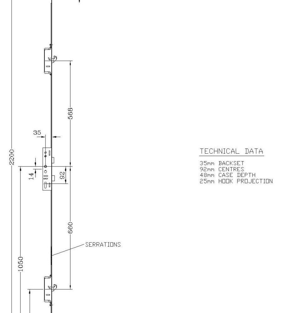 Lockmaster 2 Hook 45mm backset 92mm centre Doorlock PLSP223-45-19-0