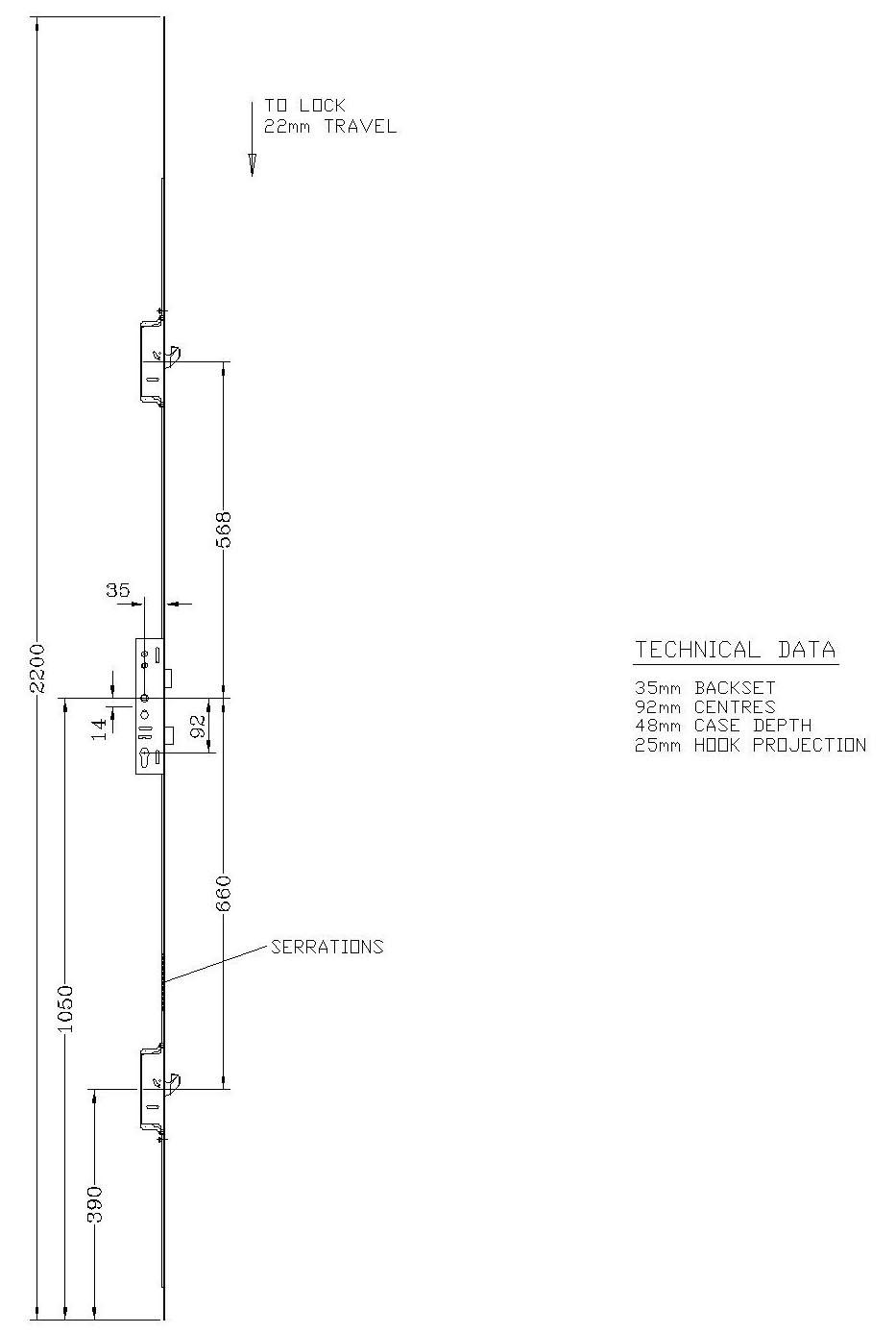 Lockmaster 2 Hook 45mm Backset 92mm Centre Doorlock PLSP223-45-19