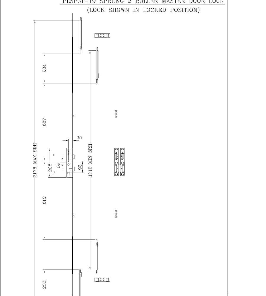 Lockmaster 2 Roller Master Lock 35mm backset 92mm centre PLSP31-19-0