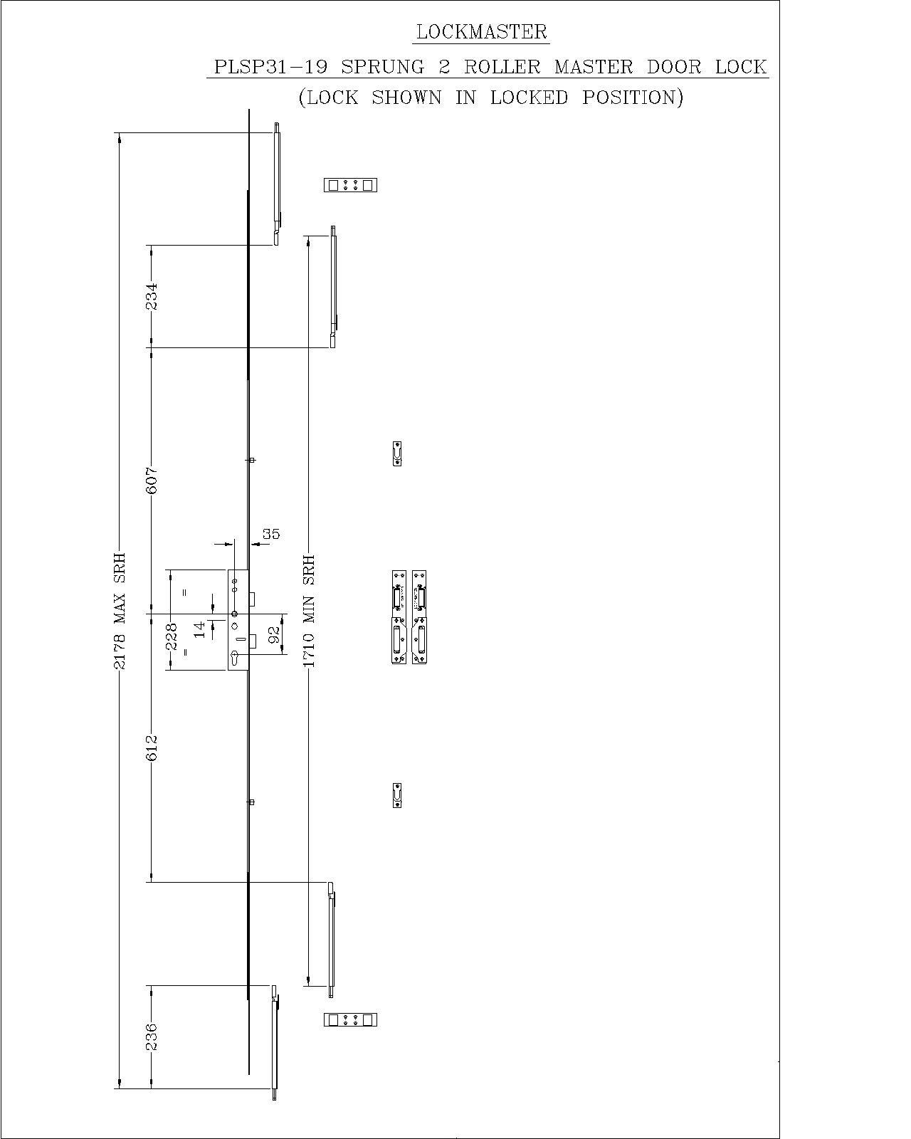 Lockmaster 2 Roller Master Lock 35mm Backset 92mm Centre PLSP31-19