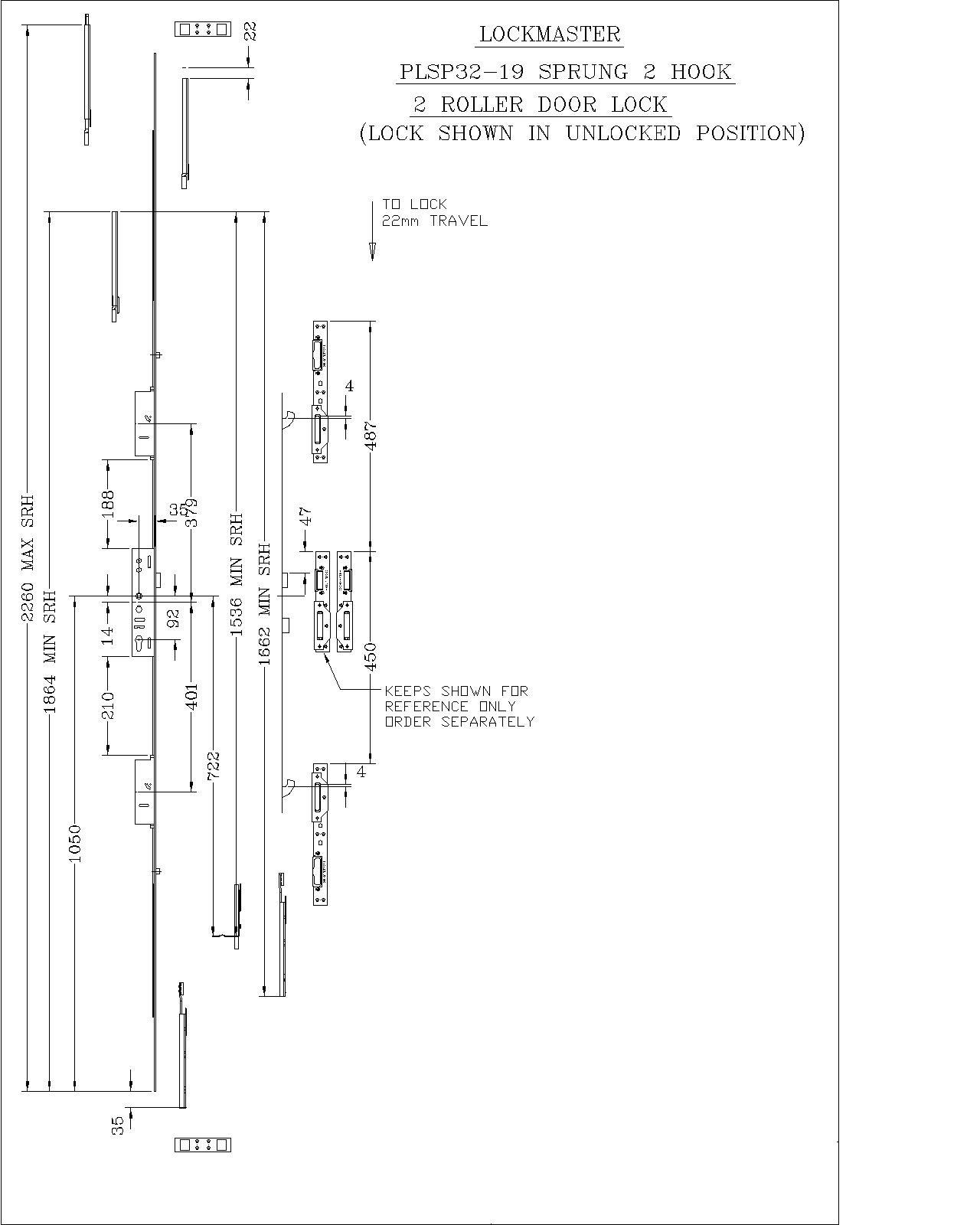 Lockmaster 2Hook 2Roller French Master Lock 35mm Backset 92mm Centre PLSP32-19