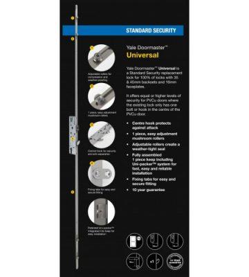 Yale Doormaster Universal 2 Roller 2 Mushroom 35mm Backset 92mm Centre Repair Lock