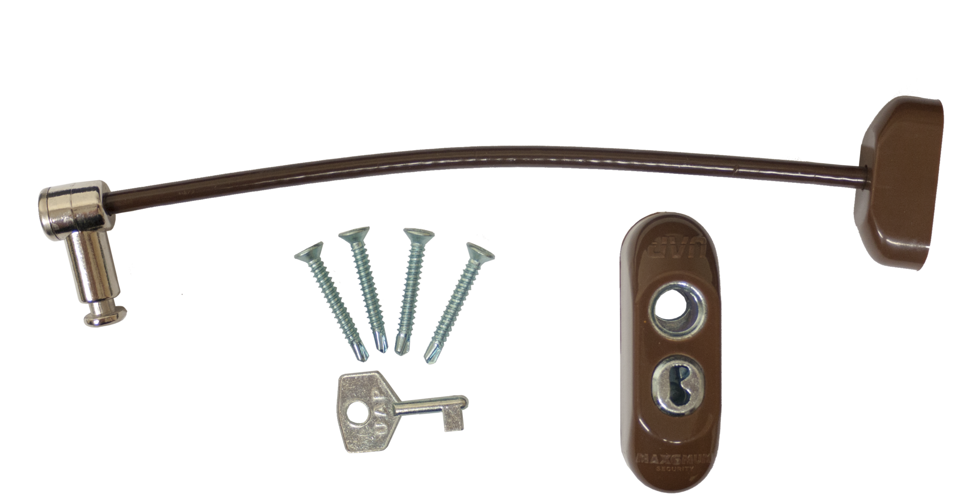 Max6mum Security Lockable Window Restrictor Brown