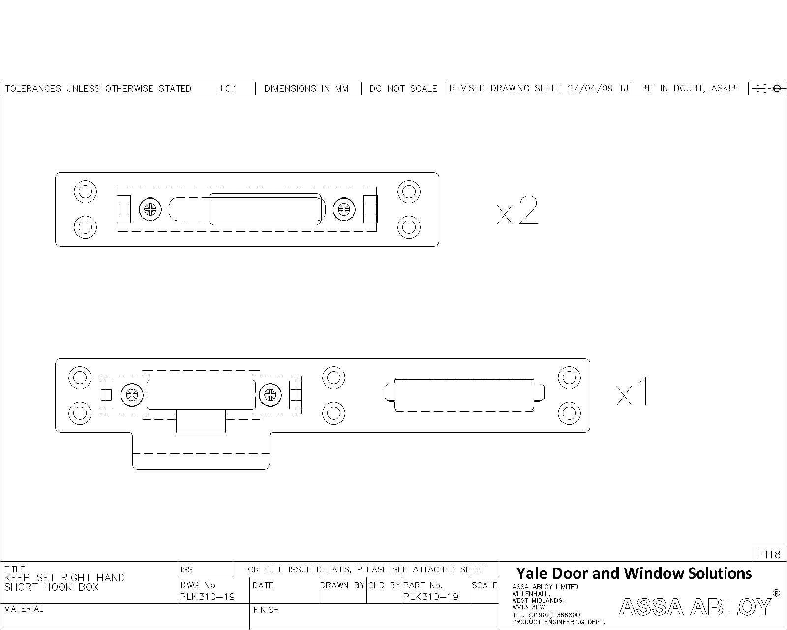 Lockmaster Composite Door Adjustable Keepset PLK310-19 Right Hand