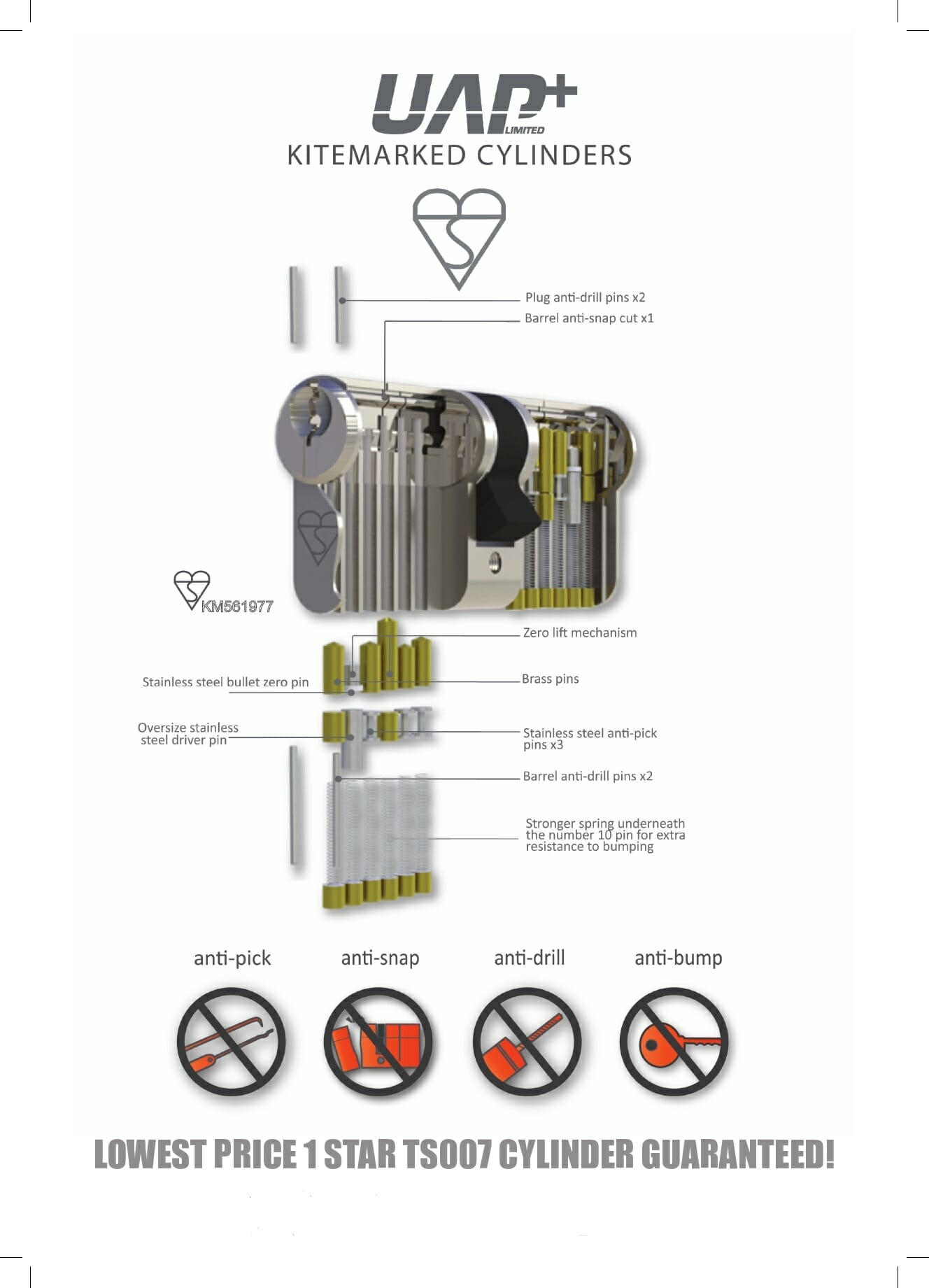 UAP Anti Snap 35/45 (80mm Overall) Brass Euro Profile Cylinder Lock