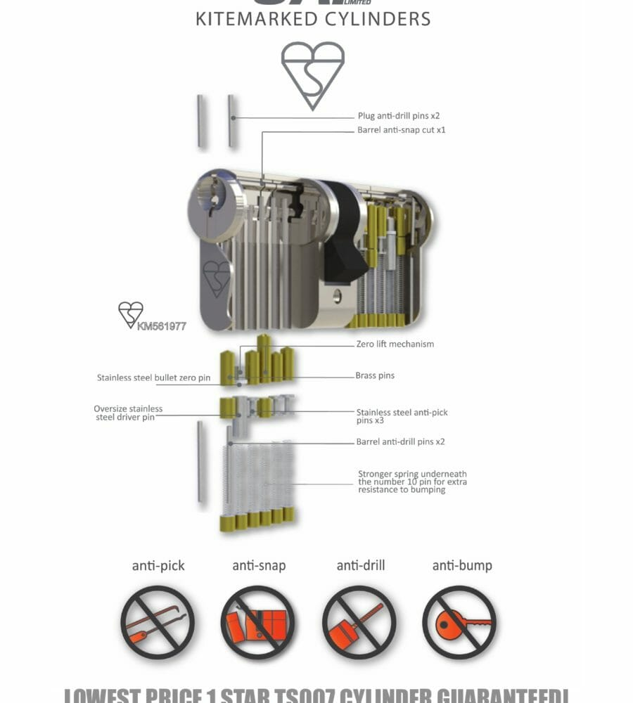 UAP Anti Snap 40/40 (80mm overall) Brass Euro Profile Cylinder Lock-476
