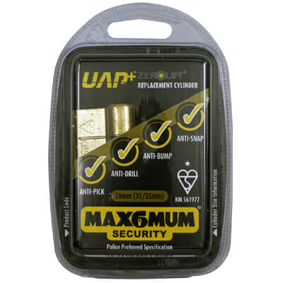 UAP Anti Snap 35/35 (70mm overall) Nickle Euro Profile Cylinder lock-494