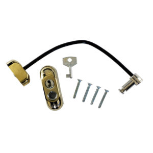 Max6mum Security Lockable Window Restrictor PVD Gold With Black Cable