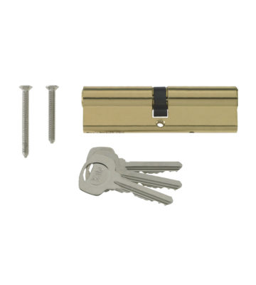 Yale 6 Pin Euro Profile Cylinder Lock Brass 35/35 (70mm) C/w 3 Keys