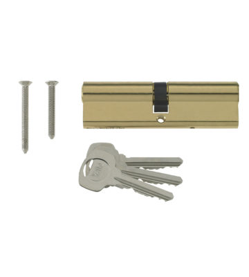 Yale 6 Pin Euro Profile Cylinder Lock Brass 35/45 (80mm) C/w 3 Keys