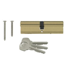 Yale 6 Pin Euro Profile Cylinder Lock Brass 40/40 (80mm) C/w 3 Keys