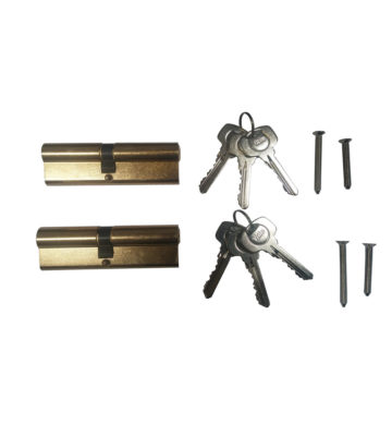 Yale 6 Pin Euro Profile Cylinder Lock Brass 40/45 (85mm) Keyed Alike In Pairs C/w 6 Keys