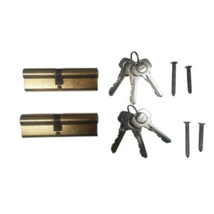 Yale 6 Pin Euro Profile Cylinder Lock Brass 45/45 (90mm) Keyed Alike In Pairs C/w 6 Keys