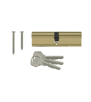 Yale 6 Pin Euro Profile Cylinder Lock Brass 45/55 (100mm) C/w 3 Keys