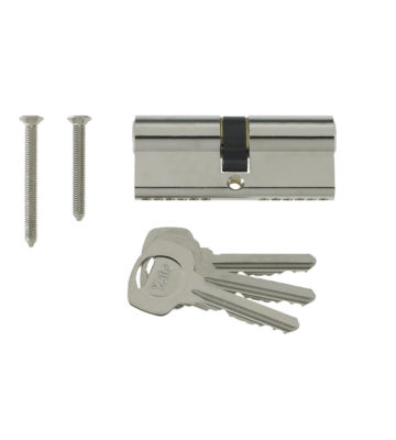 Yale 6 Pin Euro Profile Cylinder Lock Nickle 40/40 (80mm) C/w 3 Keys