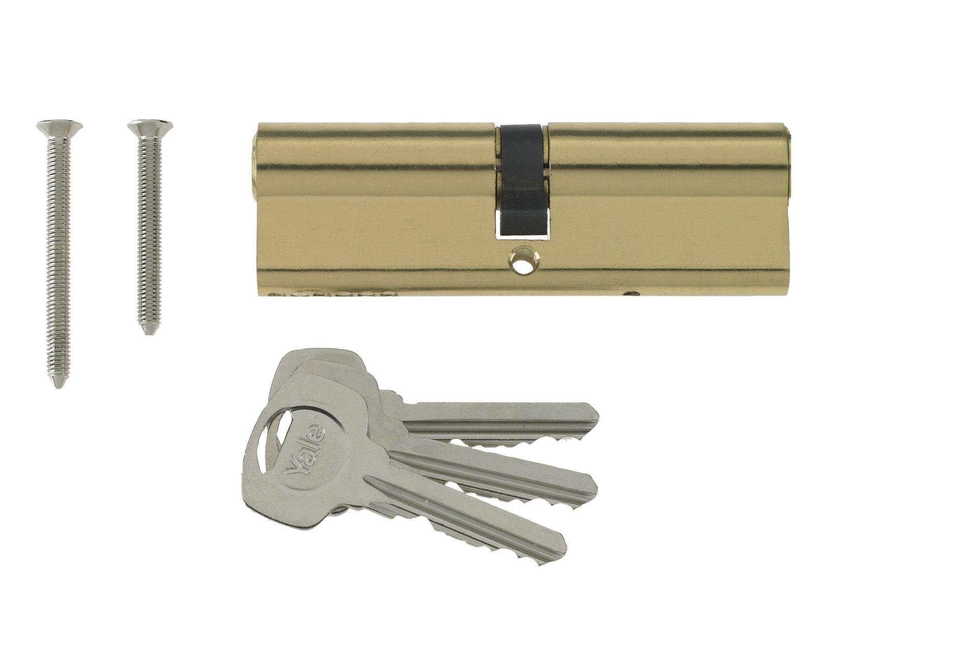 Yale 6 Pin Euro Profile Cylinder Lock Brass 45/45 (90mm) C/w 3 Keys