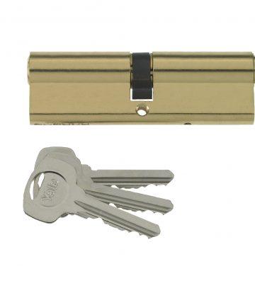 Yale 6 Pin Euro Profile Cylinder Lock Brass 35/45 (80mm) C/w 3 Keys