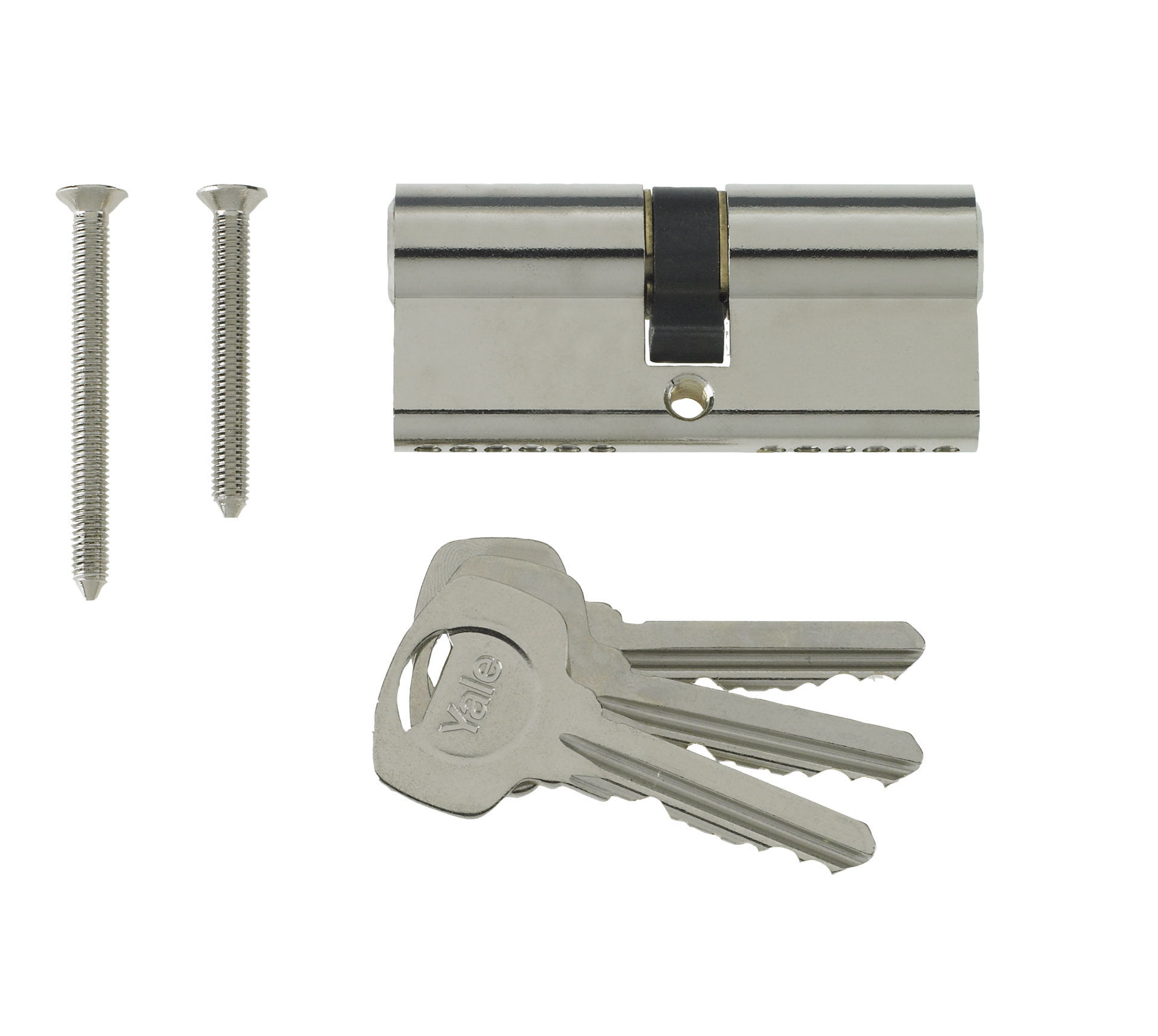 Yale 6 Pin Euro Profile Cylinder Lock Nickle 45/55 (100mm) C/w 3 Keys