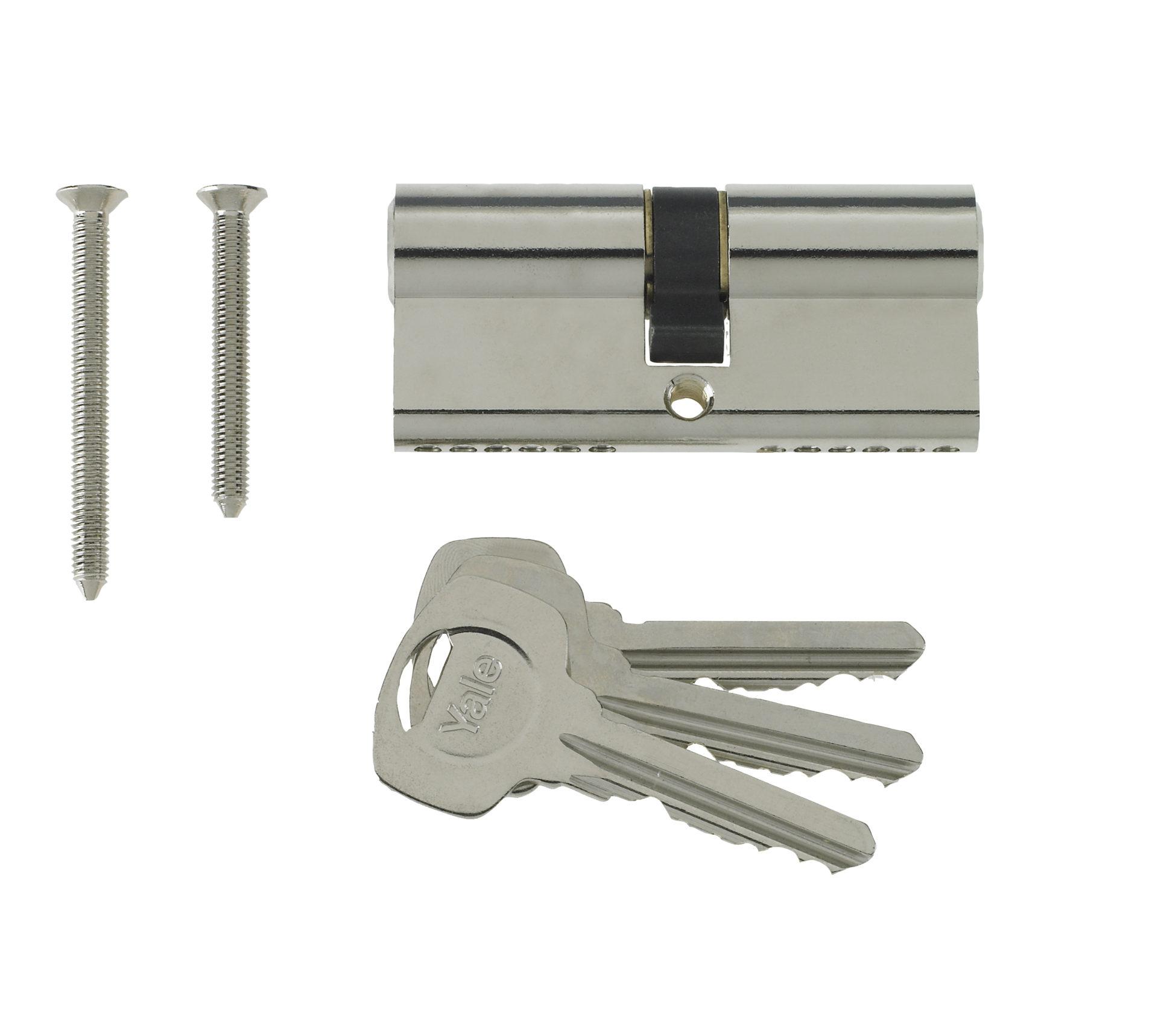Yale 6 Pin Euro Profile Cylinder Lock Nickle 35/35 (70mm) C/w 3 Keys