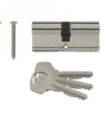 Yale 6 Pin Euro Profile Cylinder Lock Nickle 40/40 (80mm) C/w 3 Keys