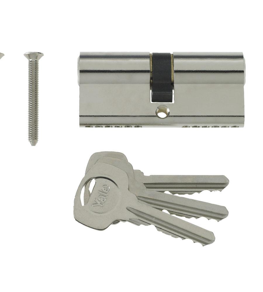 Yale 6 Pin Euro Profile Cylinder Lock Nickle 40/60 (100mm) c/w 3 Keys-0