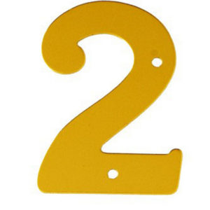 """2"""" Gold Anodised Numeral 2"""