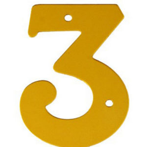 """2"""" Gold Anodised Numeral 3"""