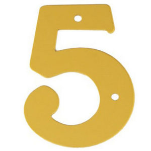 """2"""" Gold Anodised Numeral 5"""