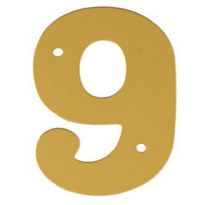 """2"""" Gold Anodised Numeral 9"""