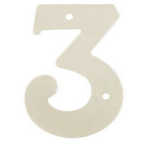 """2"""" Silver Satin Anodised Numeral 3"""