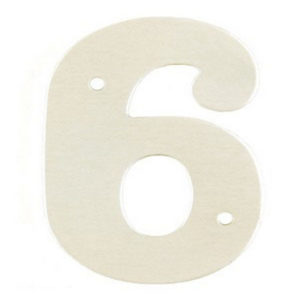 """2"""" Silver Satin Anodised Numeral 6"""