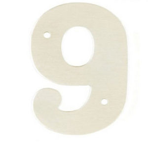 """2"""" Silver Satin Anodised Numeral 9"""