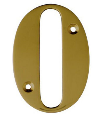 "3"" Brass Door Numeral 0"