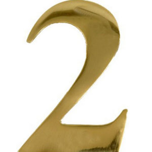 "3"" Brass Door Numeral 2"