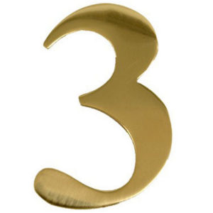 "3"" Brass Door Numeral 3"