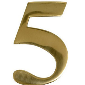 "3"" Brass Door Numeral 5"