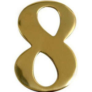 "3"" Brass Door Numeral 8"