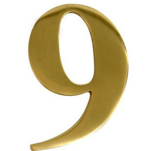 "3"" Brass Door Numeral 9"