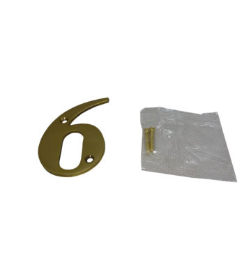 "3"" Brass Door Numeral 6"