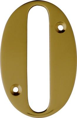 """3"""" Brass Door Numeral 0"""