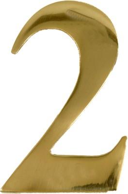 """3"""" Brass Door Numeral 2"""